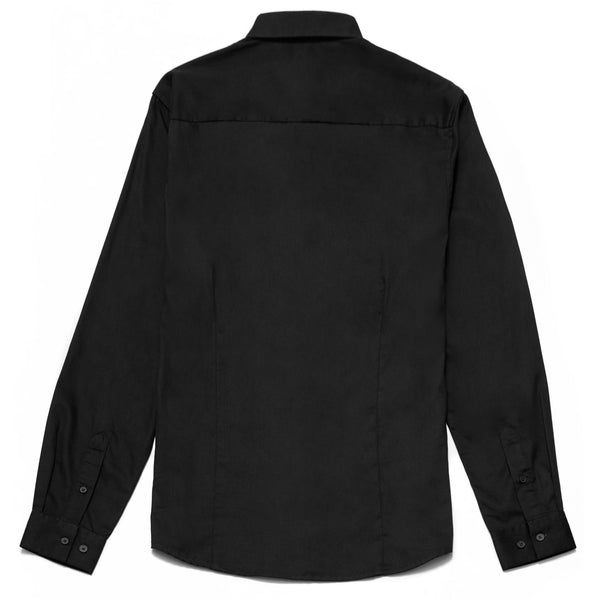 Oliver Slim Fit Satin Finish Shirt in Black - Nines Collection