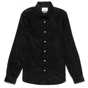 Luca Slim Fit Needlecord Shirt in Black
