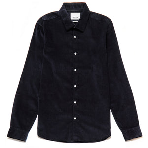 Luca Slim Fit Needlecord Shirt in Navy