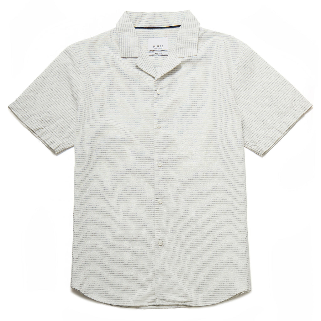 Alfredo Seer Sucker Revere Collar Shirt in Off White