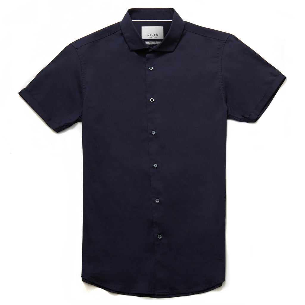 Bailey Cutaway Collar Short Sleeve Shirt in Navy