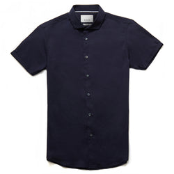 Bailey Cutaway Collar Short Sleeve Shirt in Navy - Nines Collection