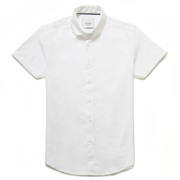 Hermano Cutaway Collar Oxford Weave Shirt in White - Nines Collection