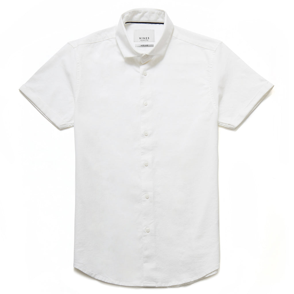 Hermano Cutaway Collar Oxford Weave Shirt in White