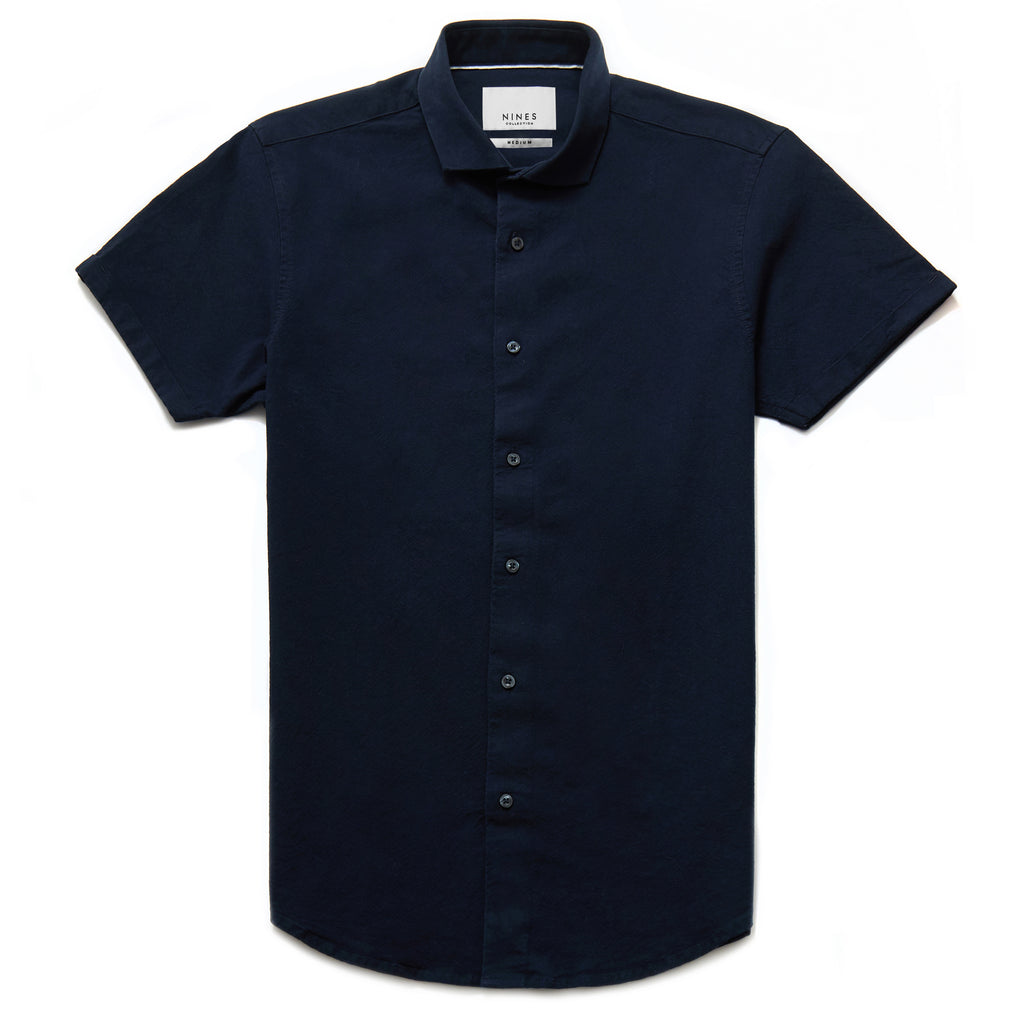Hermano Cutaway Collar Oxford Weave Shirt in Navy
