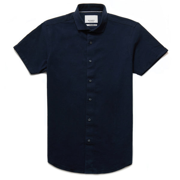 Hermano Cutaway Collar Oxford Weave Shirt in Navy - Nines Collection
