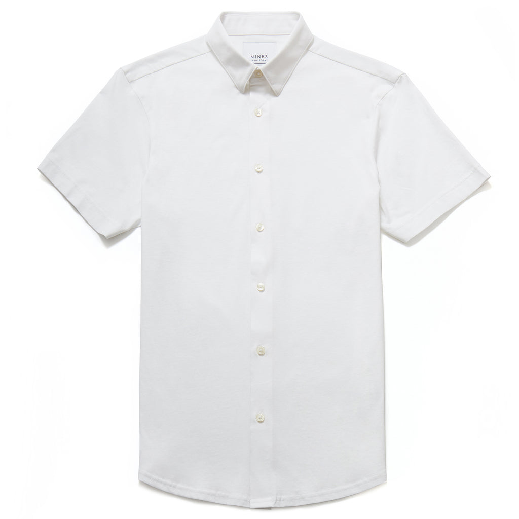 Potenza Mercerised Short Sleeved Shirt in White - Nines Collection