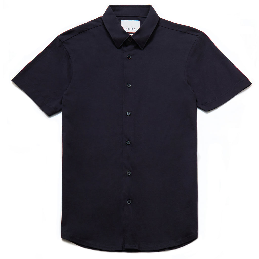 Potenza Mercerised Short Sleeved Shirt in Navy - Nines Collection
