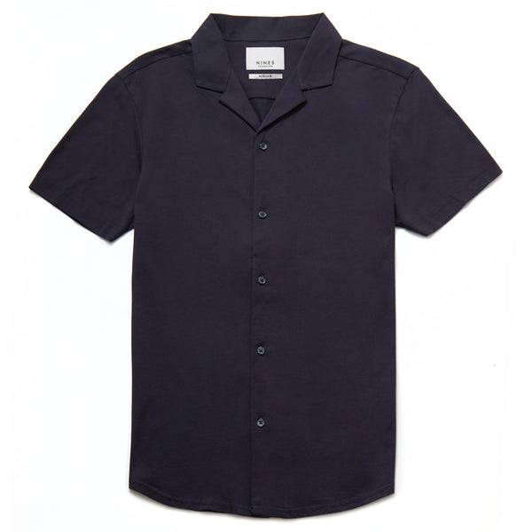 Petrosa Mercerised Revere Collar Shirt in Navy - Nines Collection
