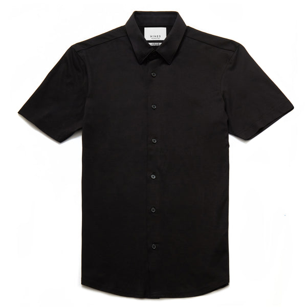 Potenza Mercerised Short Sleeved Shirt in Black - Nines Collection