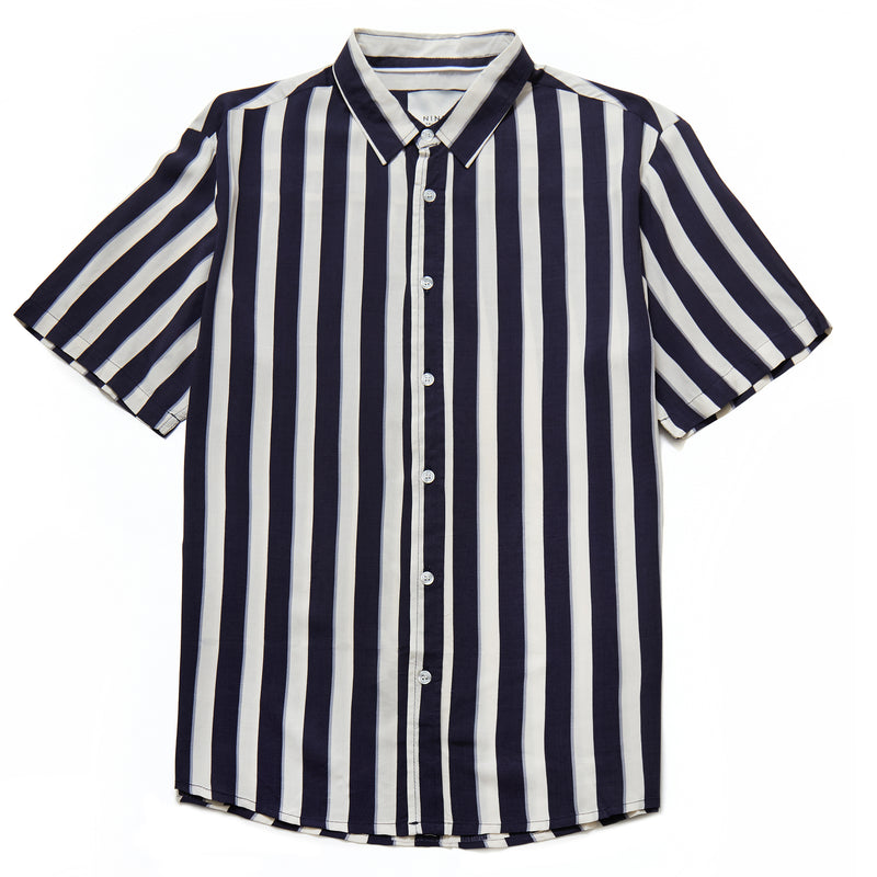 Mario Vertical Stripe Shirt in Off White/Navy - Nines Collection