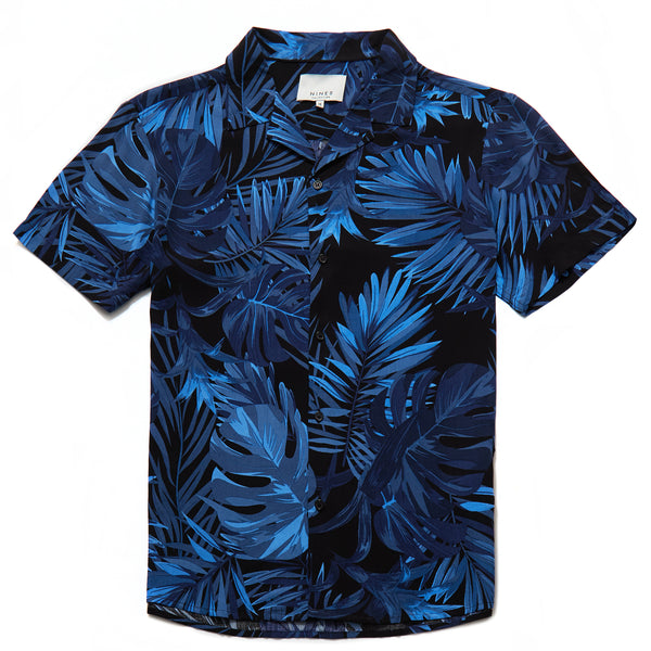 Stefano Palm Print Revere Collar Shirt in Indigo - Nines Collection