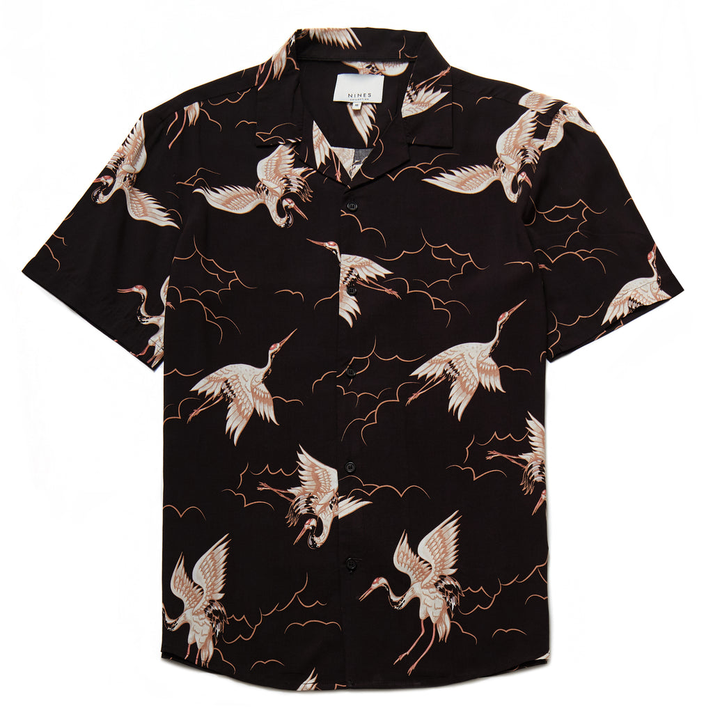 Hoshino Crane Print Revere Collar Shirt in Black