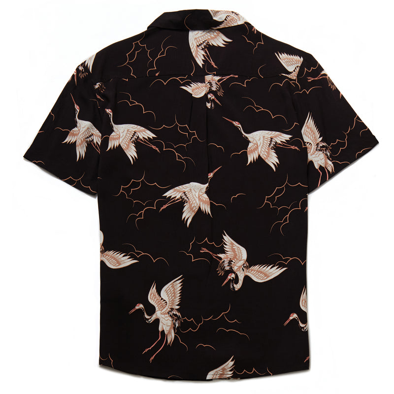 Hoshino Crane Print Revere Collar Shirt in Black - Nines Collection
