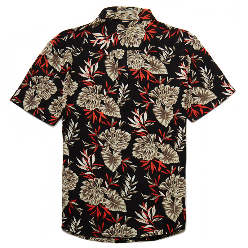 Whiteway Botanical Print Revere Collar Shirt in Black - Nines Collection