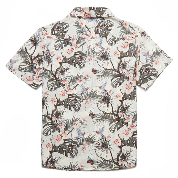 Benz Tropical Print Revere Collar Shirt in Off White - Nines Collection