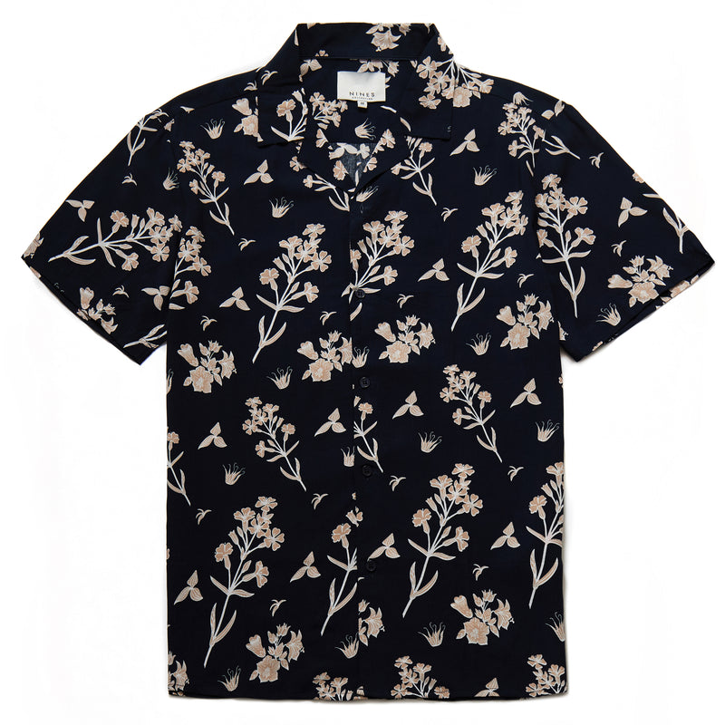 Floral Print Shirt in Navy - Nines Collection