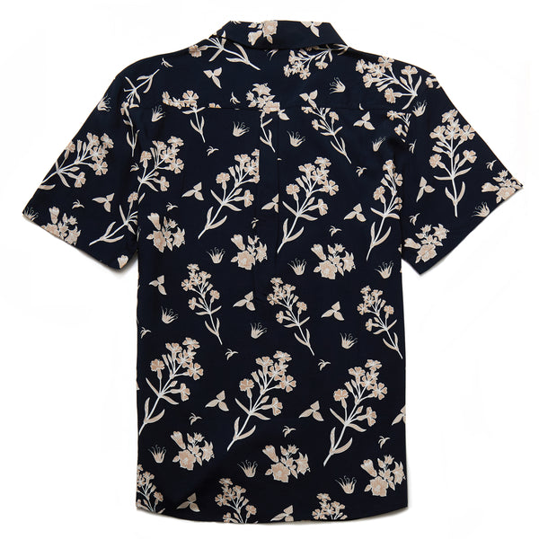 Alfa Forest Floral Print Revere Collar Shirt in Navy - Nines Collection