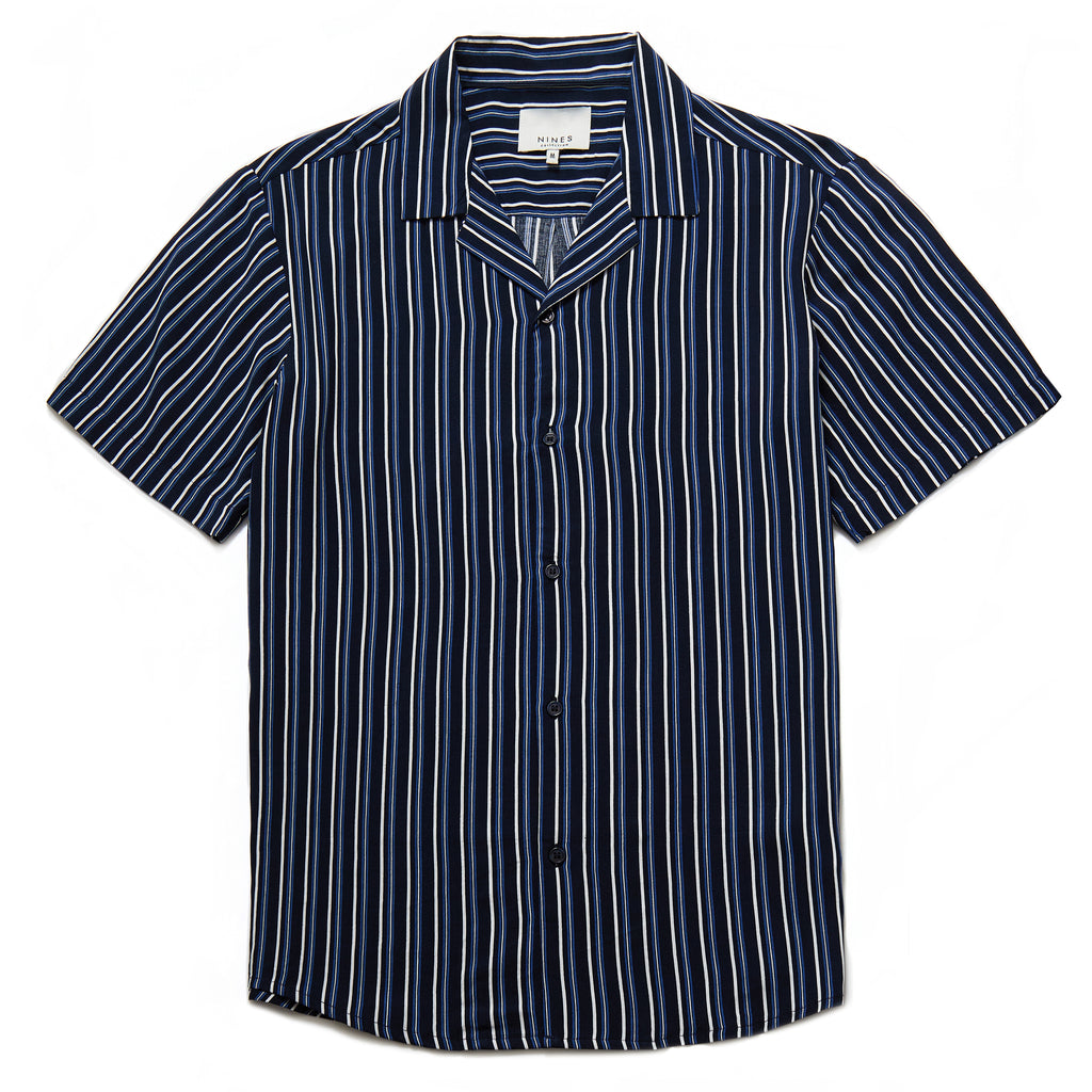 Albers Vertical Stripe Revere Collar Shirt in Navy