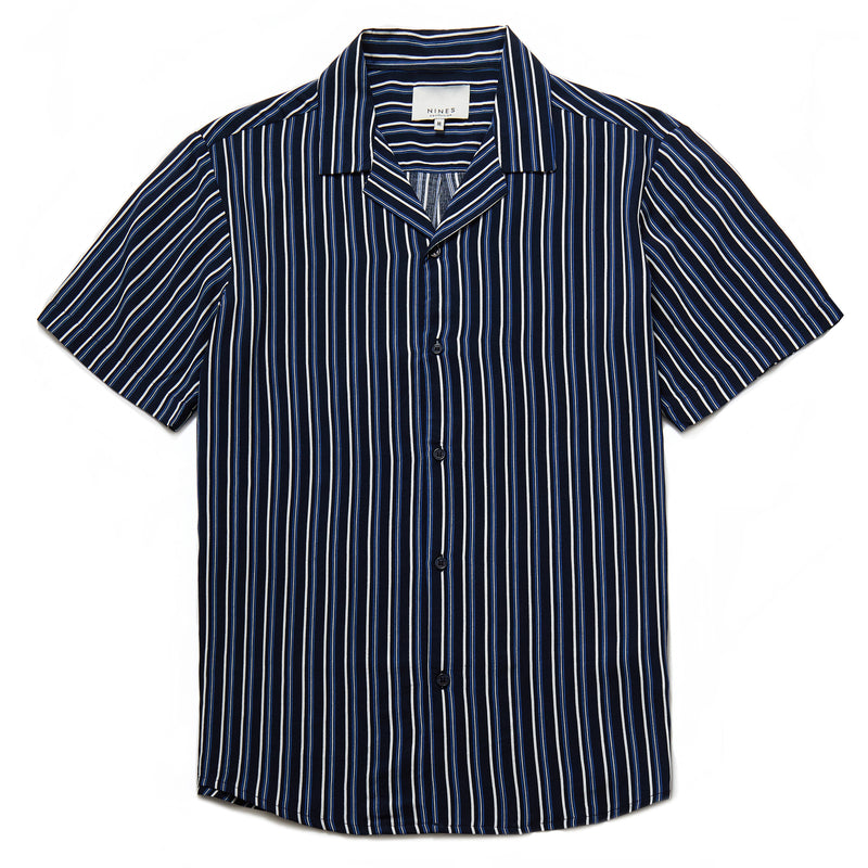 Albers Vertical Stripe Shirt in Navy - Nines Collection