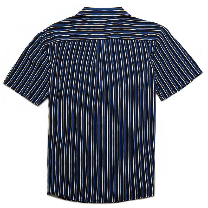 Albers Vertical Stripe Revere Collar Shirt in Navy - Nines Collection