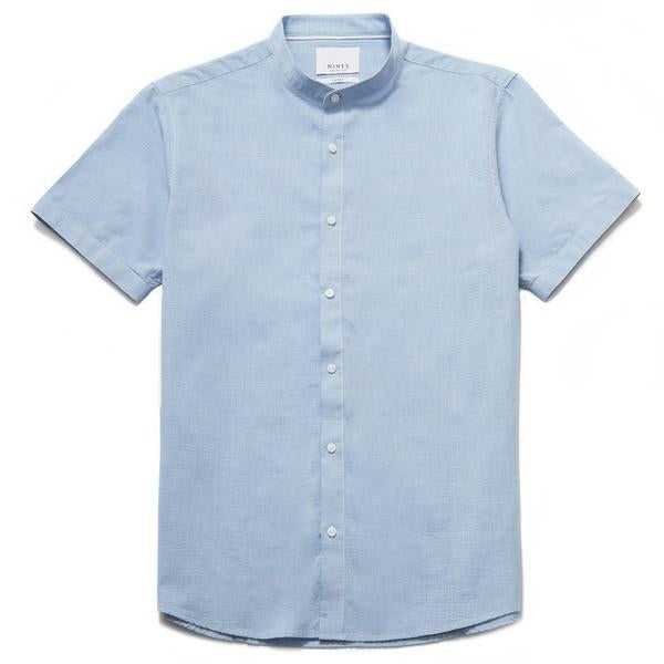 Pironi Textured Grandad Collar Shirt
