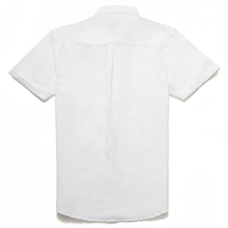 Zagato Linen Blend Grandad Collar Shirt in White - Nines Collection