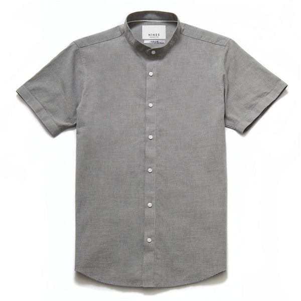 Pironi Textured Grandad Collar Shirt in Grey - Nines Collection