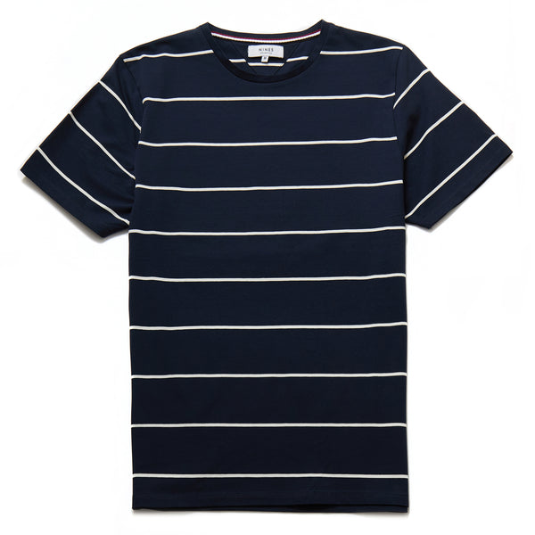 Timo Mercerised Stripe T-Shirt in Navy - Nines Collection
