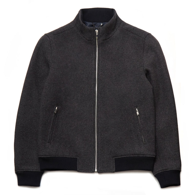 Zaire Wool Blend Funnel Neck Jacket in Dark Grey - Nines Collection