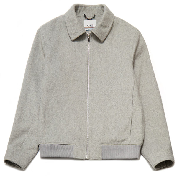 Jaron Wool Blend Harrington Jacket in Silver Grey - Nines Collection