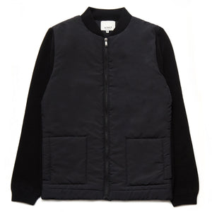 Farnell Merino Wool Blend Zip-Through Quilted Jacket in Black