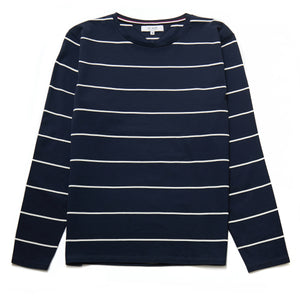 Ecosse Long-Sleeved Mercerised Stripe Top in Navy