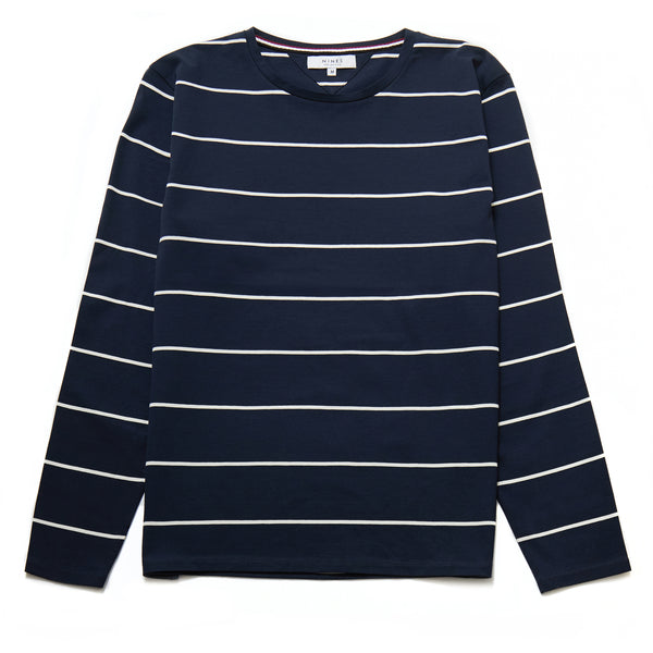 Ecosse Long-Sleeved Mercerised Stripe Top in Navy - Nines Collection