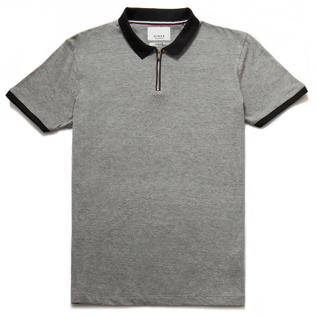 Hamilton Contrast Zip Neck Polo in Grey Marl
