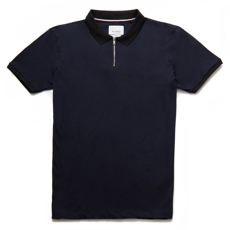 Hamilton Contrast Zip Neck Polo in Navy - Nines Collection