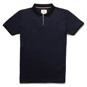 Hamilton Contrast Zip Neck Polo in Navy