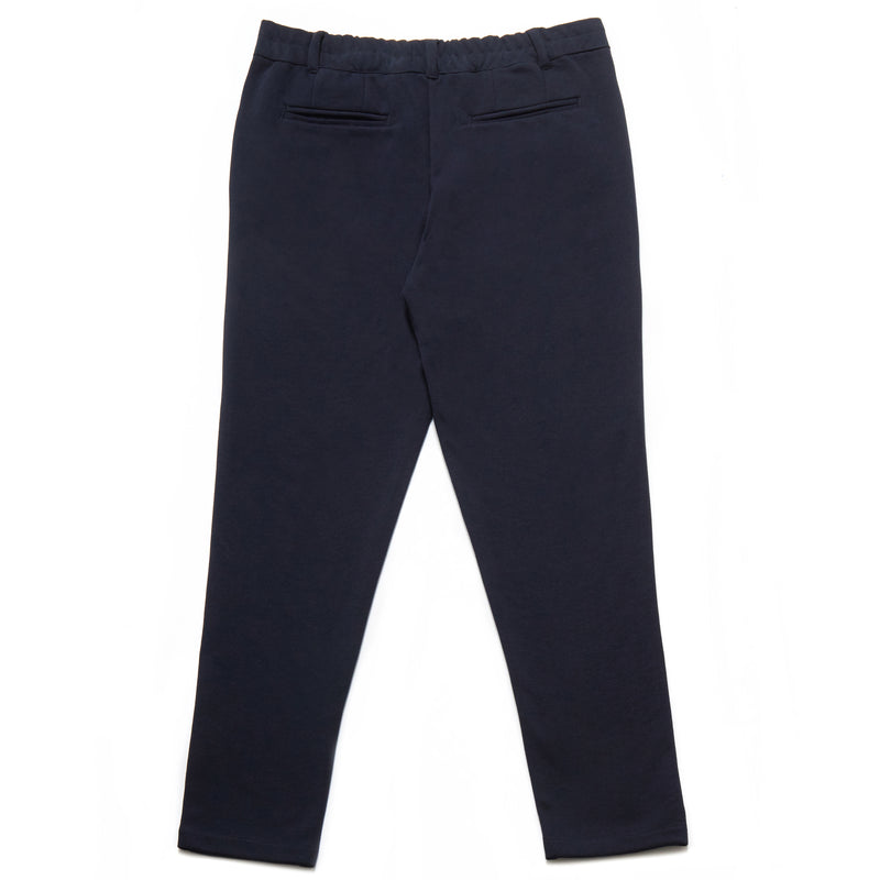 Pisa Cotton Blend Piqué Trousers in Navy - Nines Collection