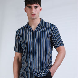Albers Vertical Stripe Shirt in Navy