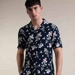 Alfa Forest Floral Print Shirt in Navy