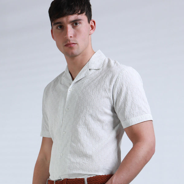 Alfredo Revere Collar Shirt in Off White