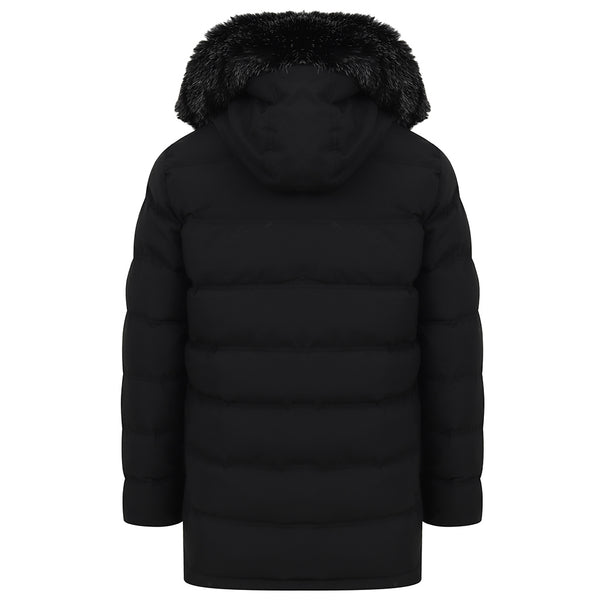 Aaran Fur Hooded Puffer Coat In Black
