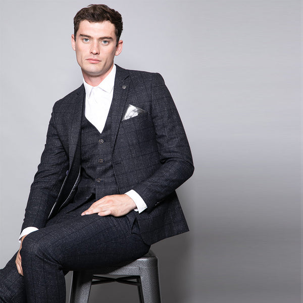 Alfie Slim Fit Navy Check Three Piece Suit
