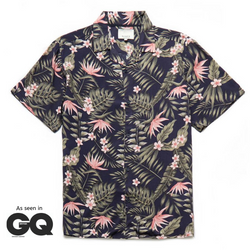 Henton Exotic Print Revere Collar Shirt in Navy/Pink - Nines Collection