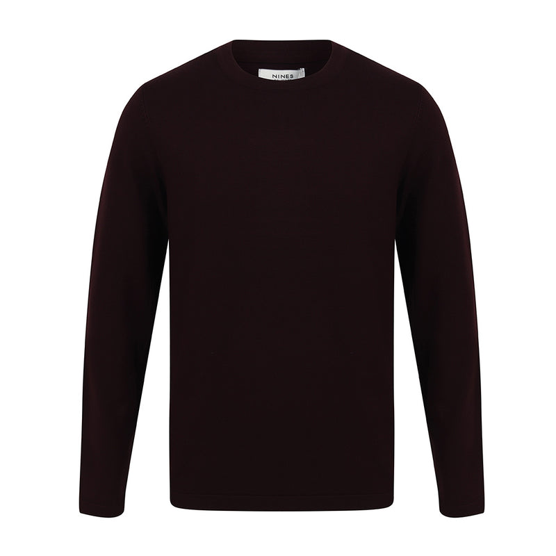 Augustus Crew Neck Jumper In Wine