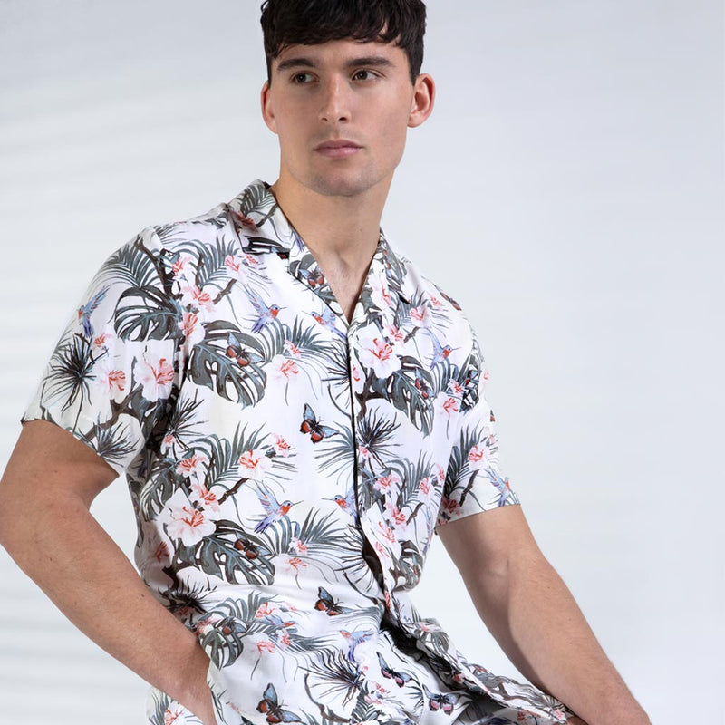 Benz Tropical Print Revere Collar Shirt in Off White