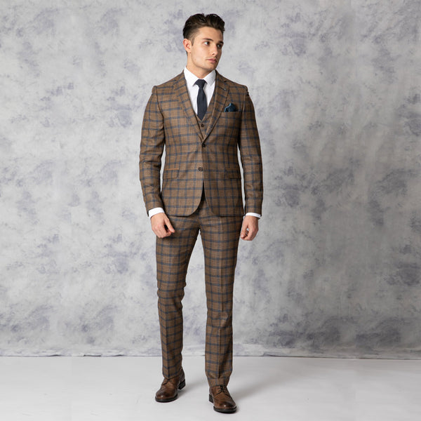 Arthur Slim Fit Brown and Blue Check Three Piece Suit
