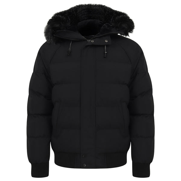 Camperdown Faux Fur Hooded Puffer Jacket In Black