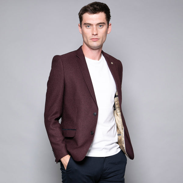 Carlos Burgundy Slim Fit Jacket