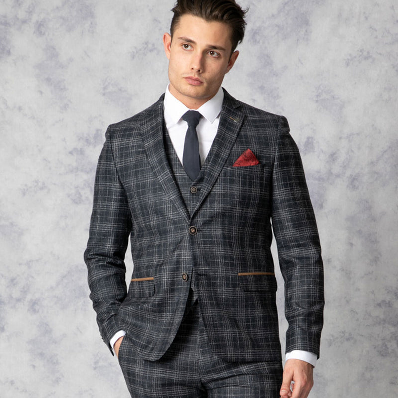 Chester Slim Fit Navy Check Three Piece Suit